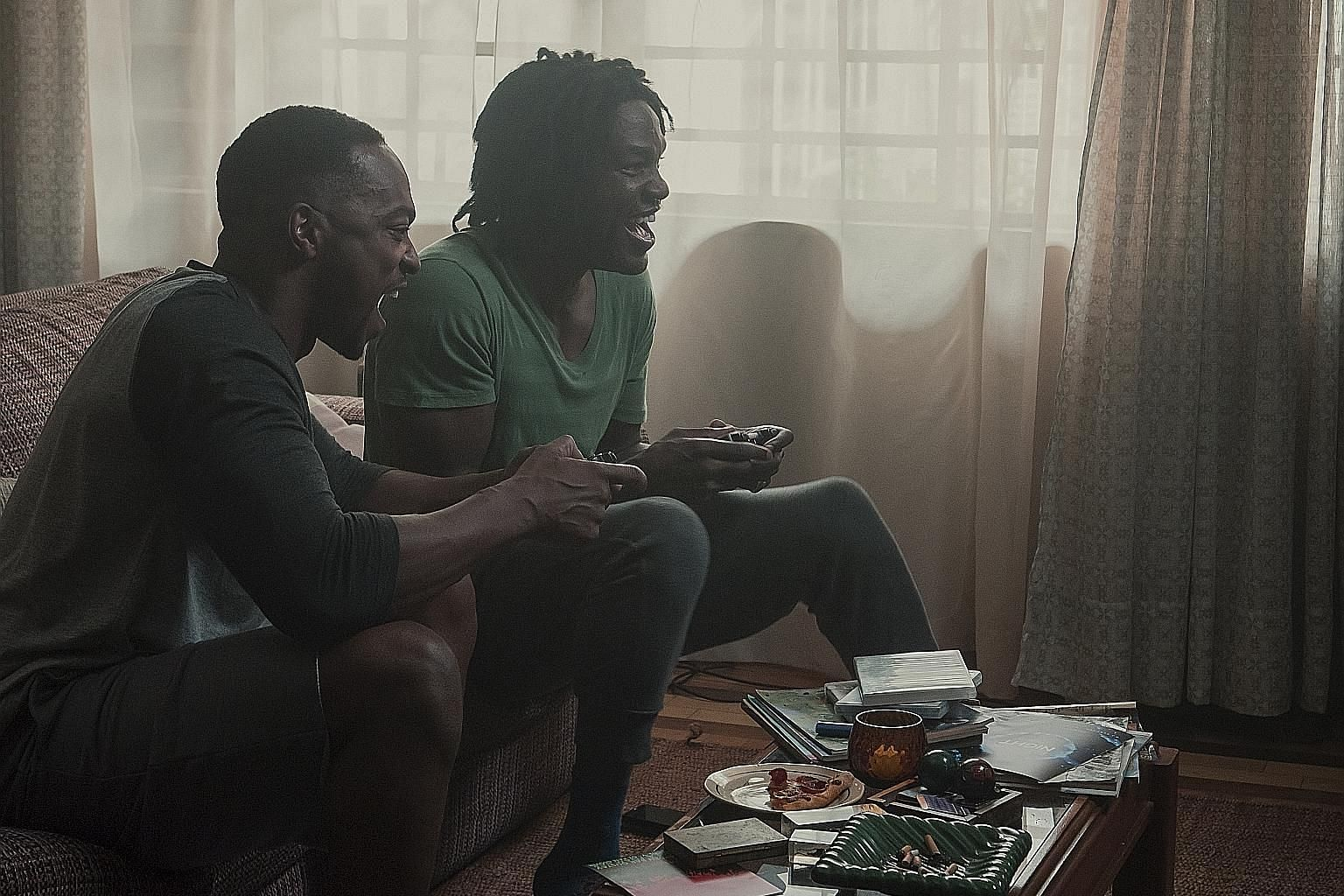 Anthony Mackie (far left) and Yahya Abdul-Mateen II in Black Mirror 5 episode Striking Vipers. May Hong and Garcia play a lesbian couple adjusting to the fact that one of them is transgender in Armistead Maupin's Tales Of The City.