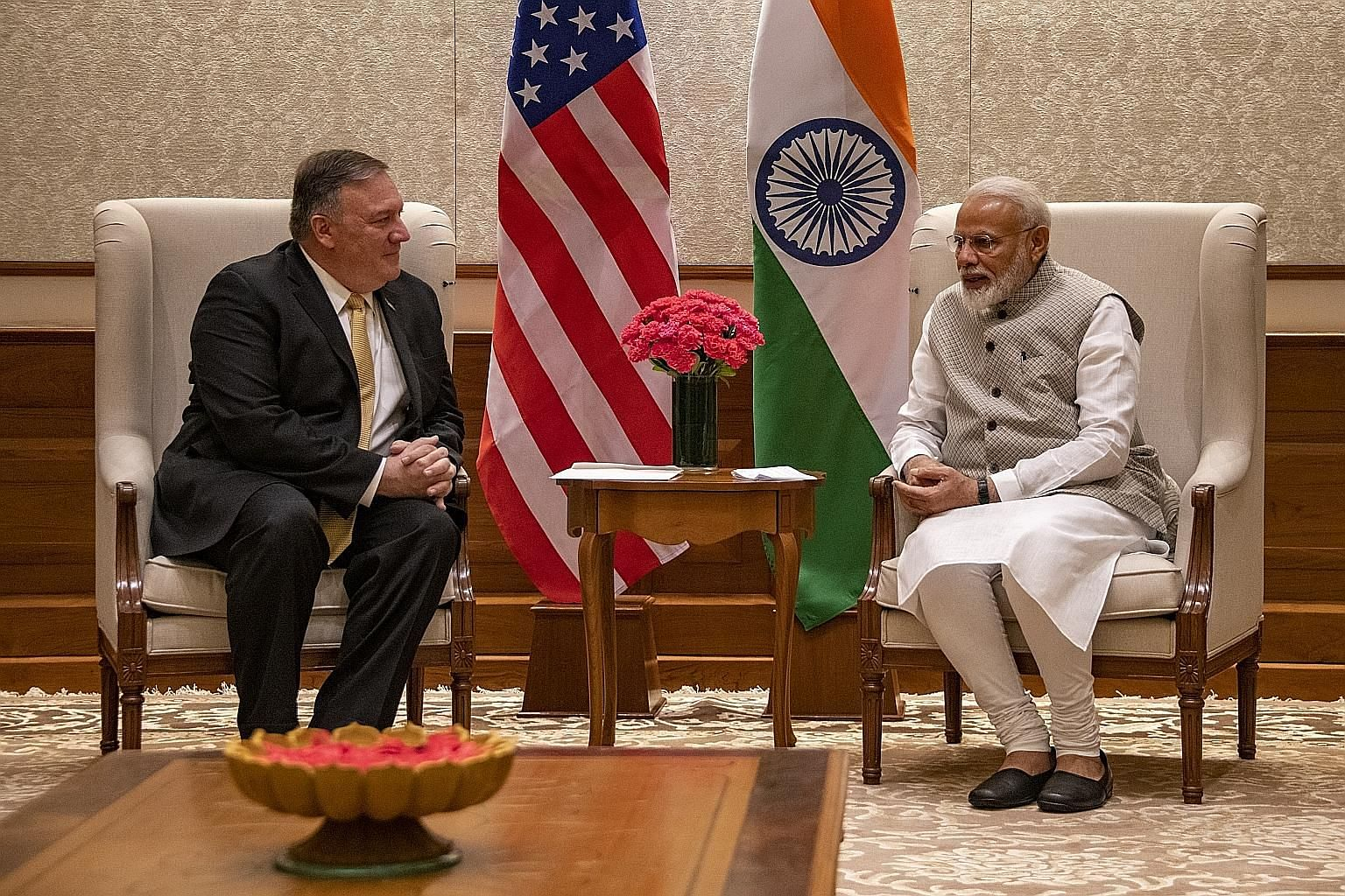 US Secretary of State Mike Pompeo meeting Indian Prime Minister Narendra Modi in New Delhi yesterday. Mr Pompeo is the first high-level US official to visit India after Mr Modi's re-election.