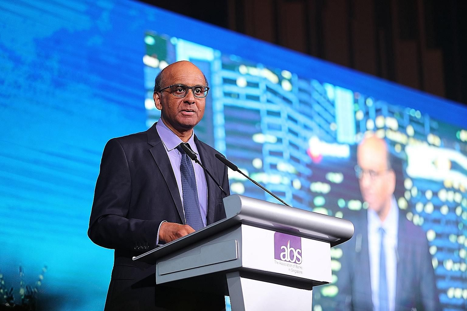 Senior Minister Tharman Shanmugaratnam, who is also chairman of the Monetary Authority of Singapore, speaking at the annual dinner of the Association of Banks in Singapore last night.