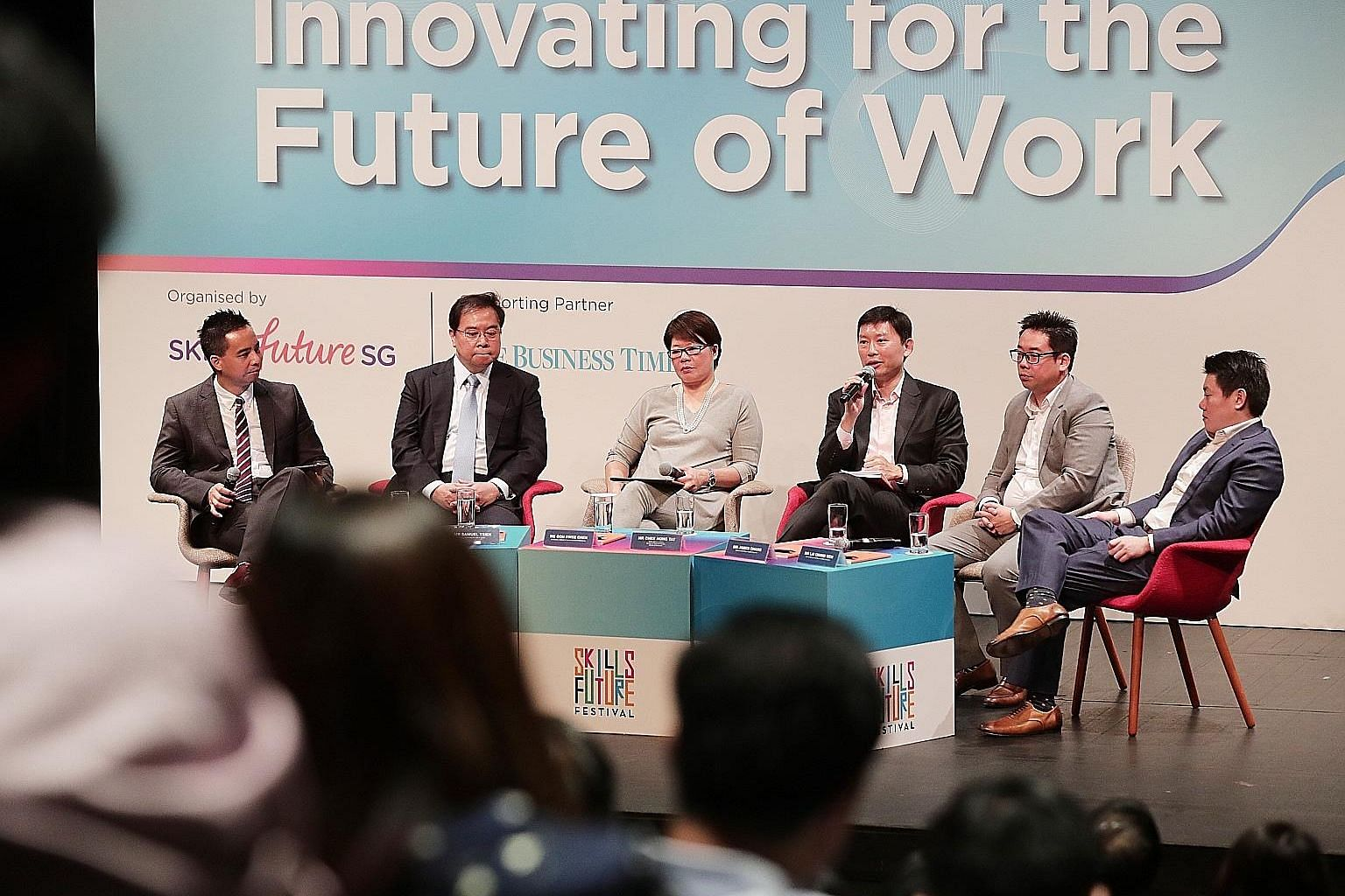 (From left) The Business Times' digital editor Chistopher Lim, OCBC Group CEO Samuel Tsien, Institute for Human Resource Professionals chairman Goh Swee Chen, Senior Minister of State Chee Hong Tat, Lazada Singapore CEO James Chang and Ninja Van CEO