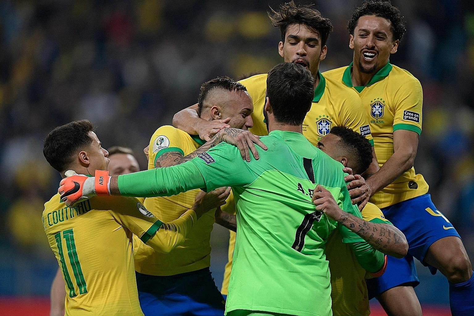 Brazil players including Philippe Coutinho and Alisson celebrating after beating Paraguay in a shoot-out in their Copa America quarter-final on Thursday. Brazil were eliminated by Paraguay in 2011 and 2015.