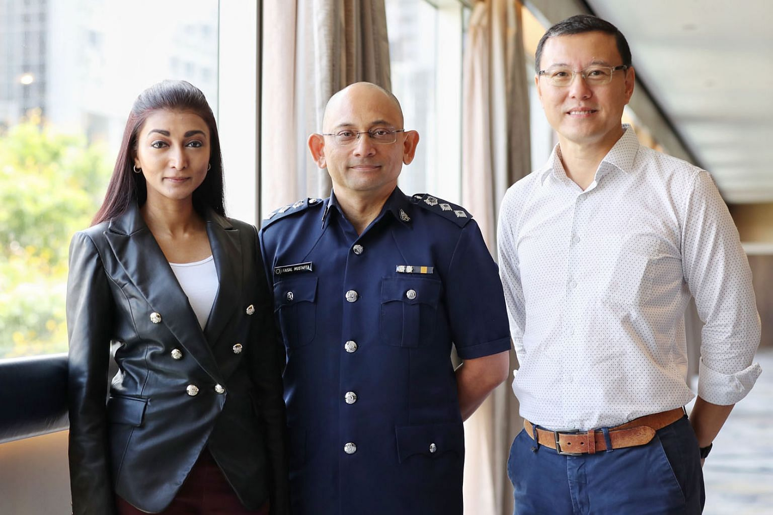Ms Shanti Pandian, director of Community Action for the Rehabilitation of Ex-offenders Network; Singapore Prison Service Superintendent Faisal Mustaffa of Institution B4; and Mr Andrew Tay, executive director of Prison Fellowship Singapore, at a semi