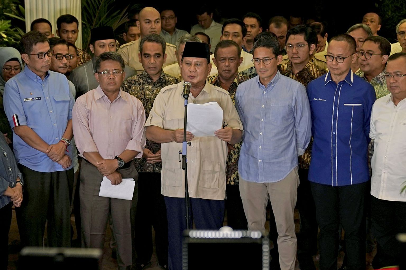 """Mr Prabowo Subianto and his vice-presidential pick Sandiaga Uno at a news conference in Jakarta on Thursday, after Indonesia's Constitutional Court dismissed all his claims of """"massive, structured and systematic"""" electoral fraud. He said: """"We believe"""