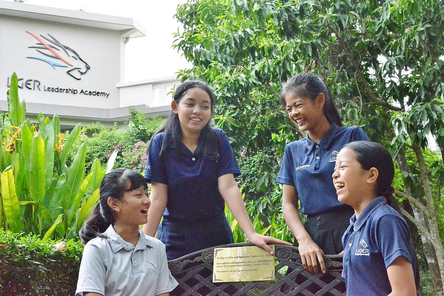 (From left) Students Angely Rose, 13, Yanich Khin, 14, Wathna Sao, 14, and Bopha Um, 13, are part of a team of five girls from Liger Leadership Academy who took part in Technovation Cambodia, a competition for girls to pitch technology-based ideas fo