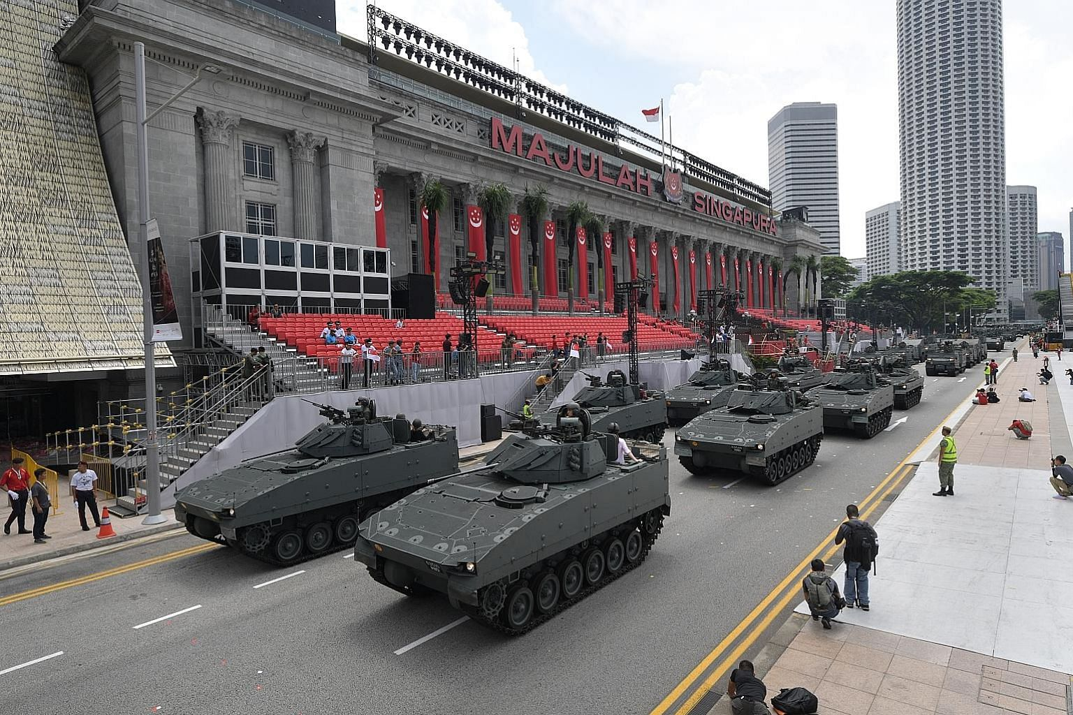 The return of the mobile column at this year's National Day Parade at the Padang is historically significant as the first mobile column rolled down the Padang 50 years ago, in 1969.