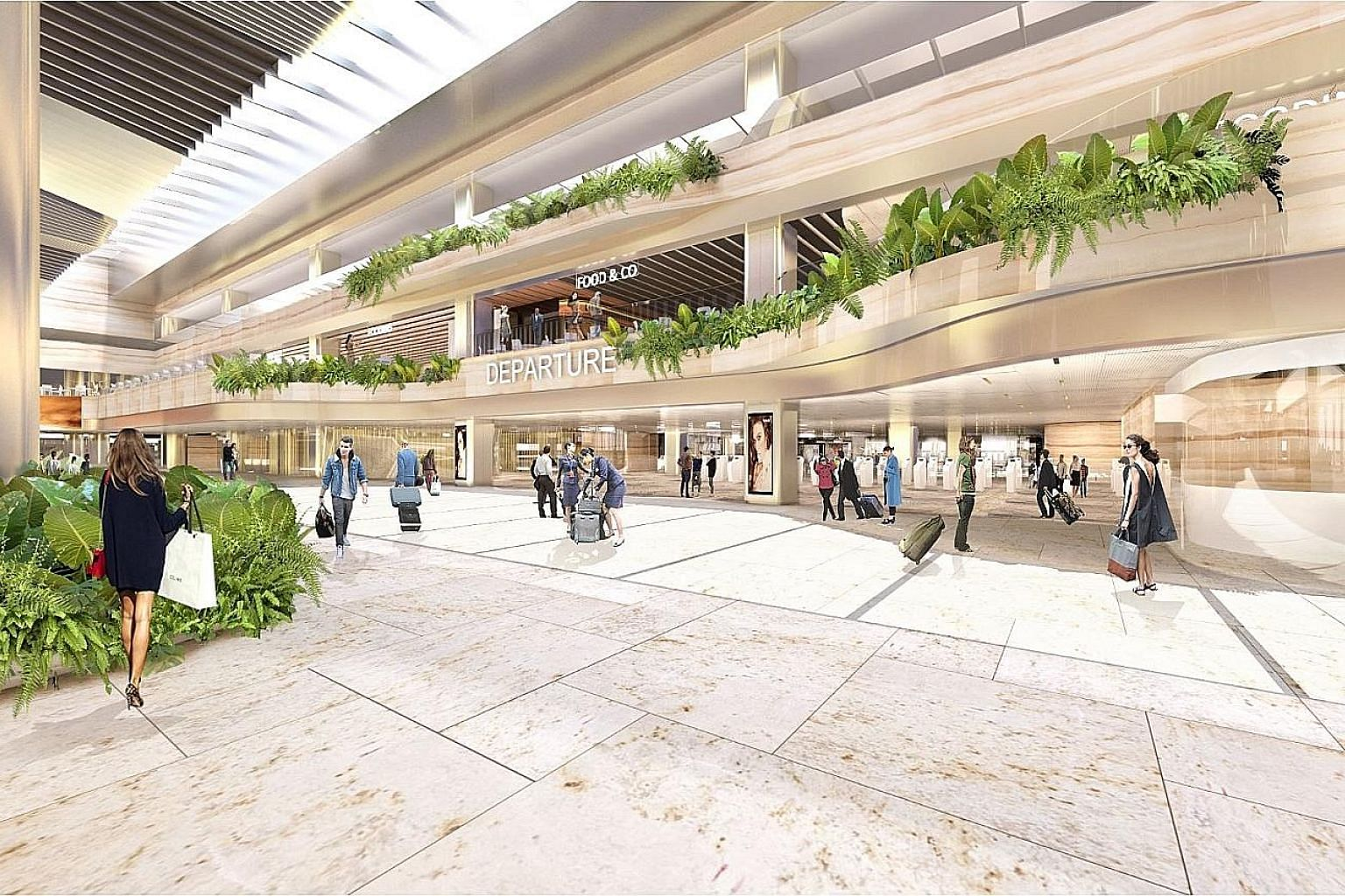 An artist's impression of the upgraded Terminal 2, which will include a departure hall with a new layout of check-in counters, and automated check-in kiosks and bag-drop machines.