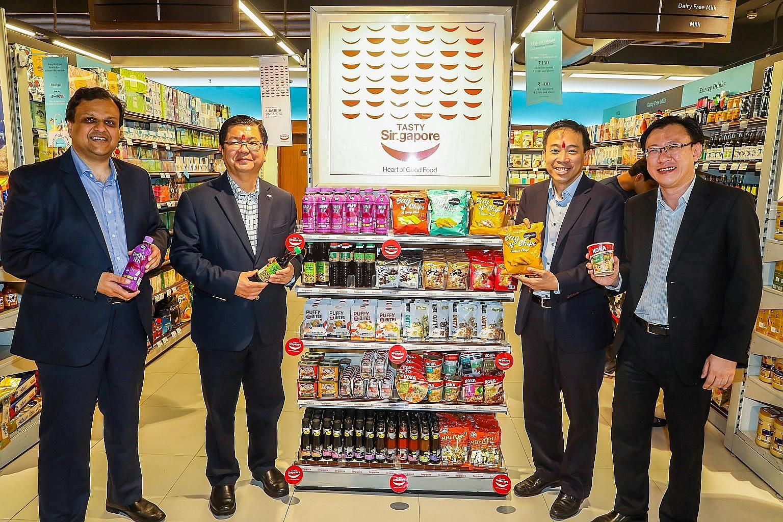 (From left) Foodhall chief operating officer Jay Jhaveri, Singapore Food Manufacturers' Association president David Tan, Enterprise Singapore chief executive Png Cheong Boon and Enterprise Singapore global markets director for South Asia Tay Lian Che