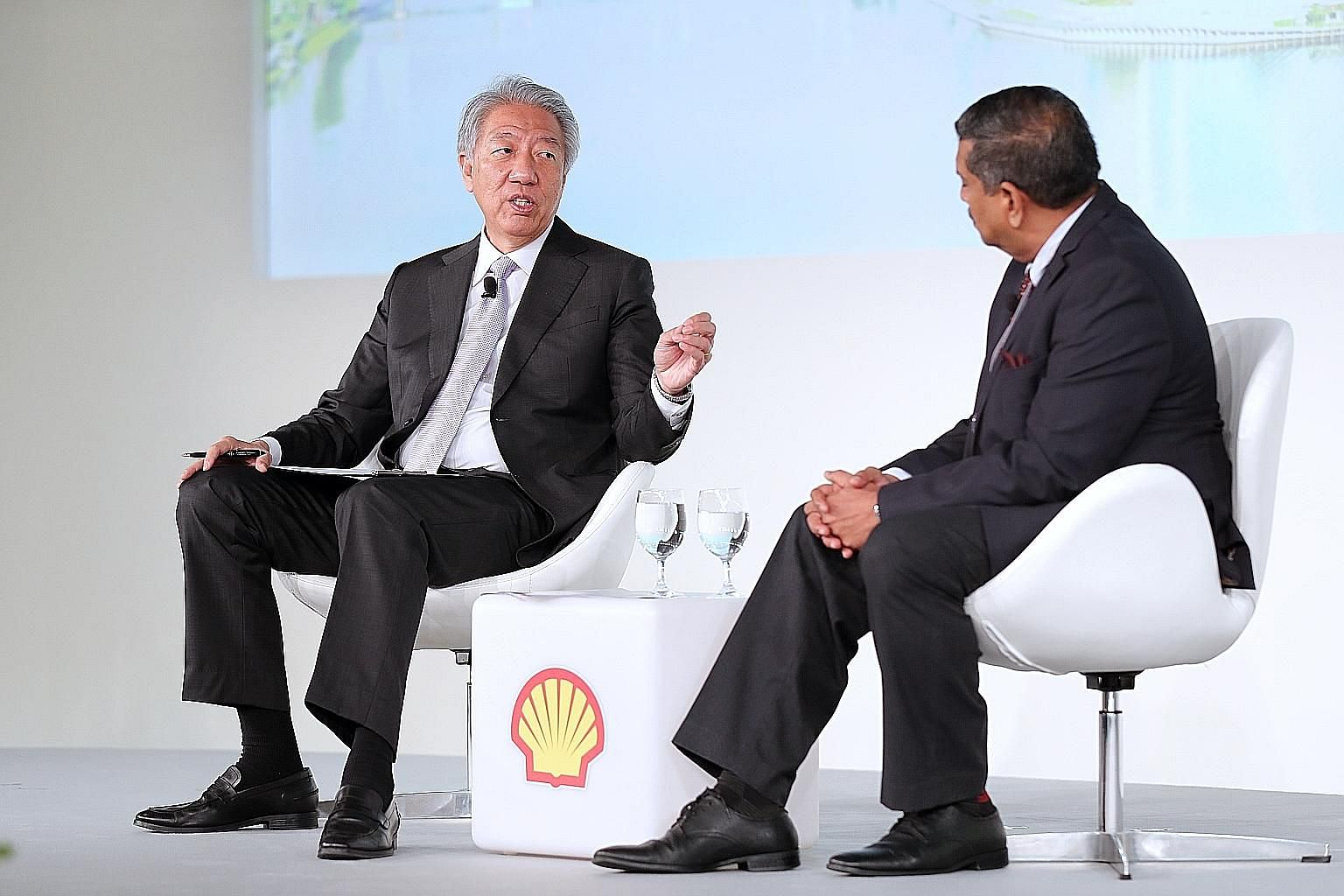 Above: Senior Minister Teo Chee Hean speaking at a dialogue moderated by Strategic Moves chief executive Viswa Sadasivan at the Shell Powering Progress Together Forum yesterday.