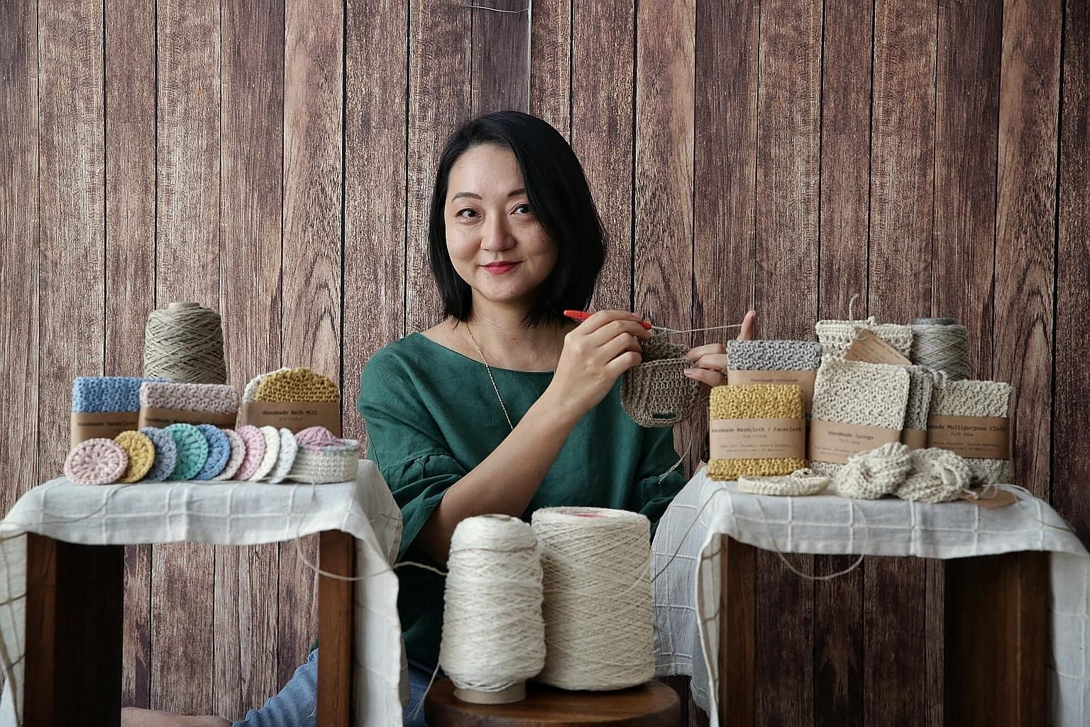 Ms Eileen Wan uses hemp, cotton and linen to knit and crochet household items. Ms Anchalee Temphairojana makes her beeswax wraps by hand at home.