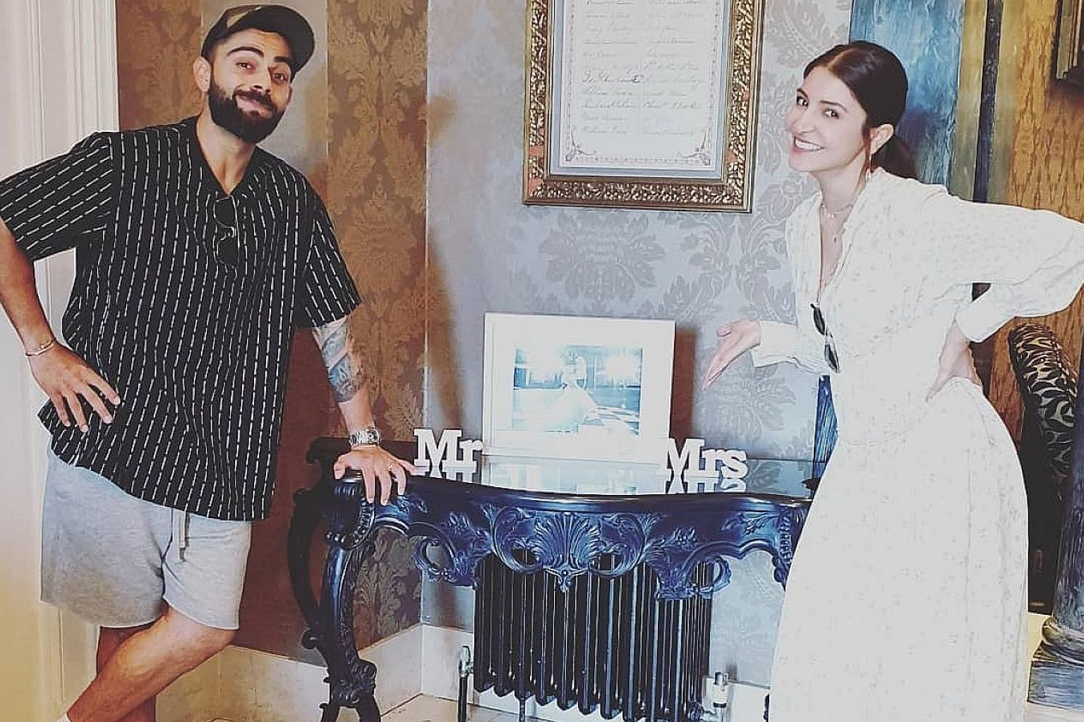 "SWEET TWEET ""Mr and Mrs."" Indian skipper Virat Kohli enjoying a day off with his wife, actress Anushka Sharma, ahead of India's Cricket World Cup clash with Sri Lanka yesterday. HOT SHOT ""Another exciting day of tennis ahead."" Not a doubles pair you'"