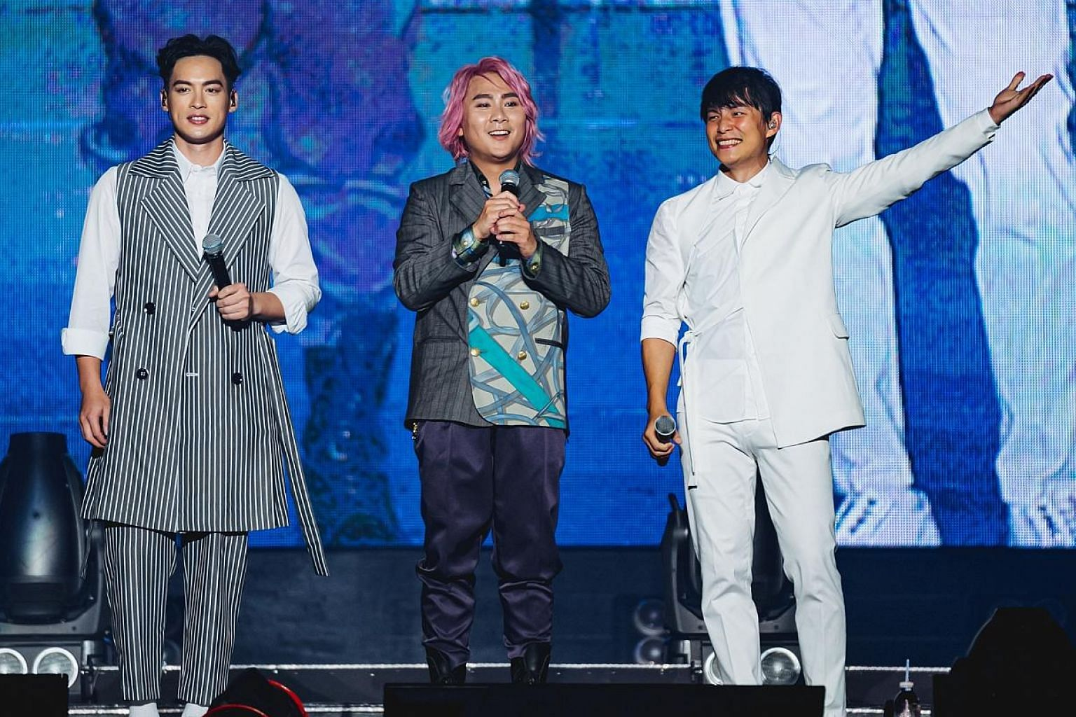 Taiwanese boy band 5566 (from left) Jason Hsu, Zax Wang and Tony Sun performed I'm Sad, an enduring karaoke favourite said to be the group's most famous song, thrice last Saturday.