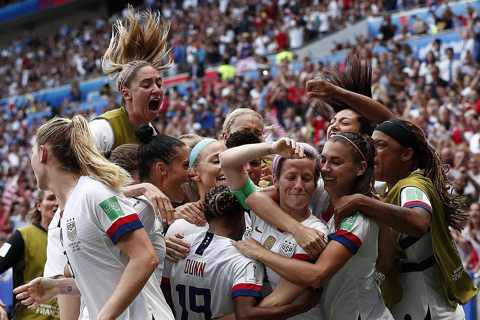 The United States are ecstatic after breaking the deadlock through Megan Rapinoe's penalty in the second half.