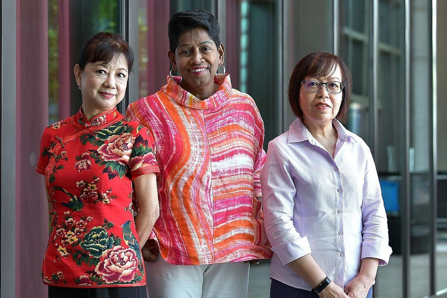 (From far left) Madam Teo Lin Lee, 59; Madam K. Madavy Nair, 69; and Madam Normah Ahmad, 66, are all long-time volunteers. They shared their experiences yesterday at an event celebrating active Merdeka Generation women.