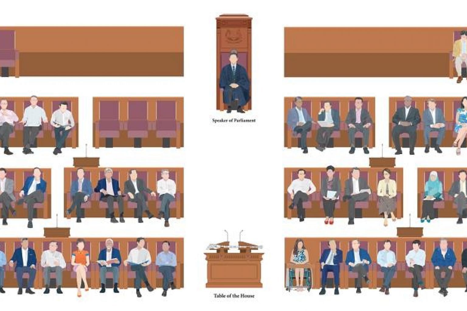 """This illustration of Singapore's parliamentarians does not show anyone's facial features, but """"even without the faces, you can recognise everyone by our characteristic body language and little quirks!"""" said Prime Minister Lee Hsien Loong on his Faceb"""