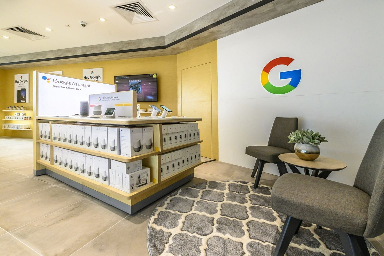 The new 12,000 sq ft Courts Funan store houses a Google experience zone that lets consumers try out the tech giant's range of devices, from smartphones to smart speakers. PHOTO: COURTS