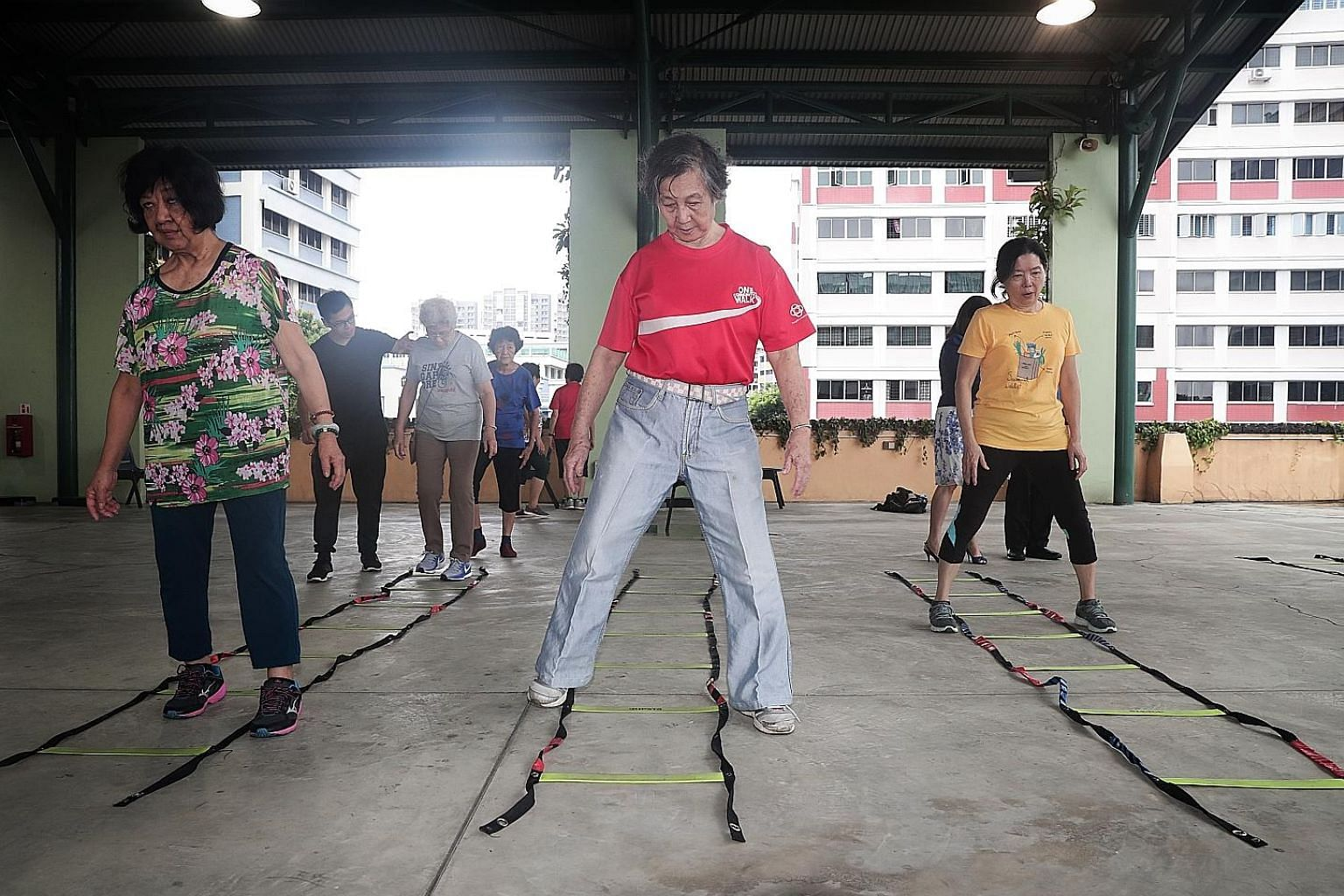 A group of seniors taking part in the Healthy Ageing Promotion Programme For You. The programme has helped many seniors become less frail and have better memory scores, researchers have found. They also improved their walking speed and balance and we