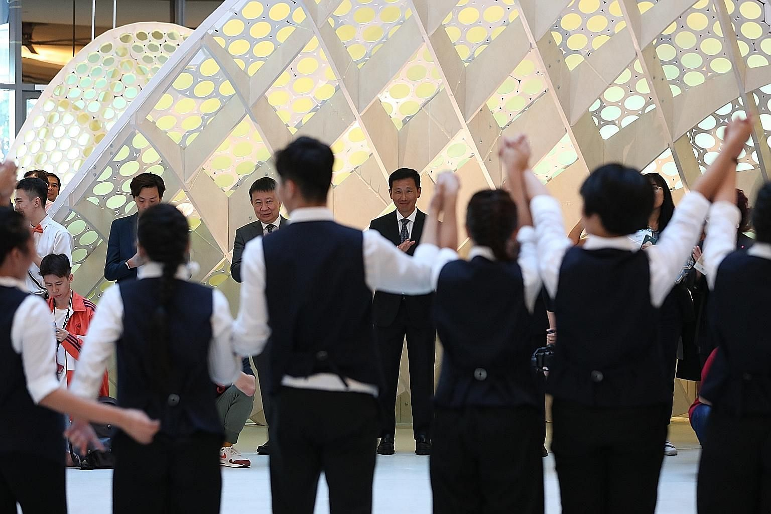 Education Minister Ong Ye Kung (centre) watching a dance performance during the Singapore University of Technology and Design's 10th anniversary celebration yesterday.