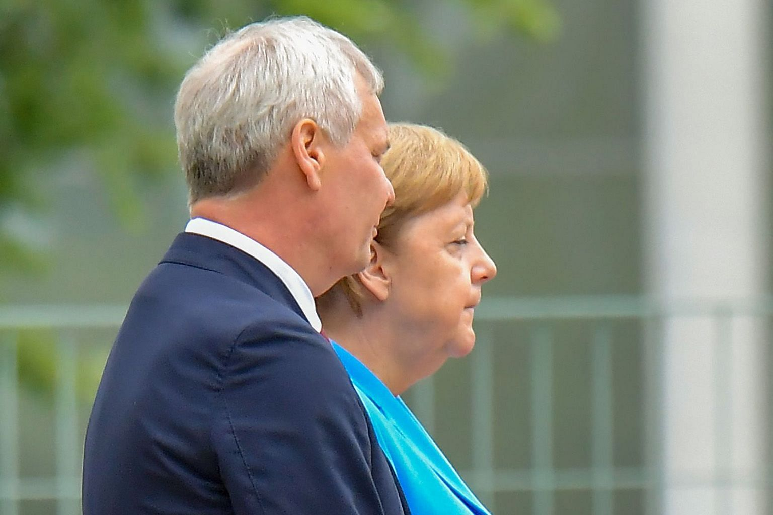 German Chancellor Angela Merkel and Finnish Prime Minister Antti Rinne at the Chancellery yesterday in Berlin, where she was seen shaking.