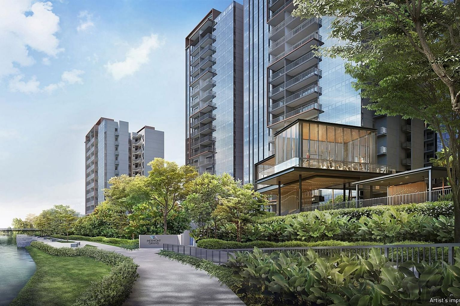 The 820-unit Piermont Grand offers a wide range of facilities spread across four zones, including a gymnasium, a 50m lap pool, a children's party room, tennis court and barbecue pavilions.