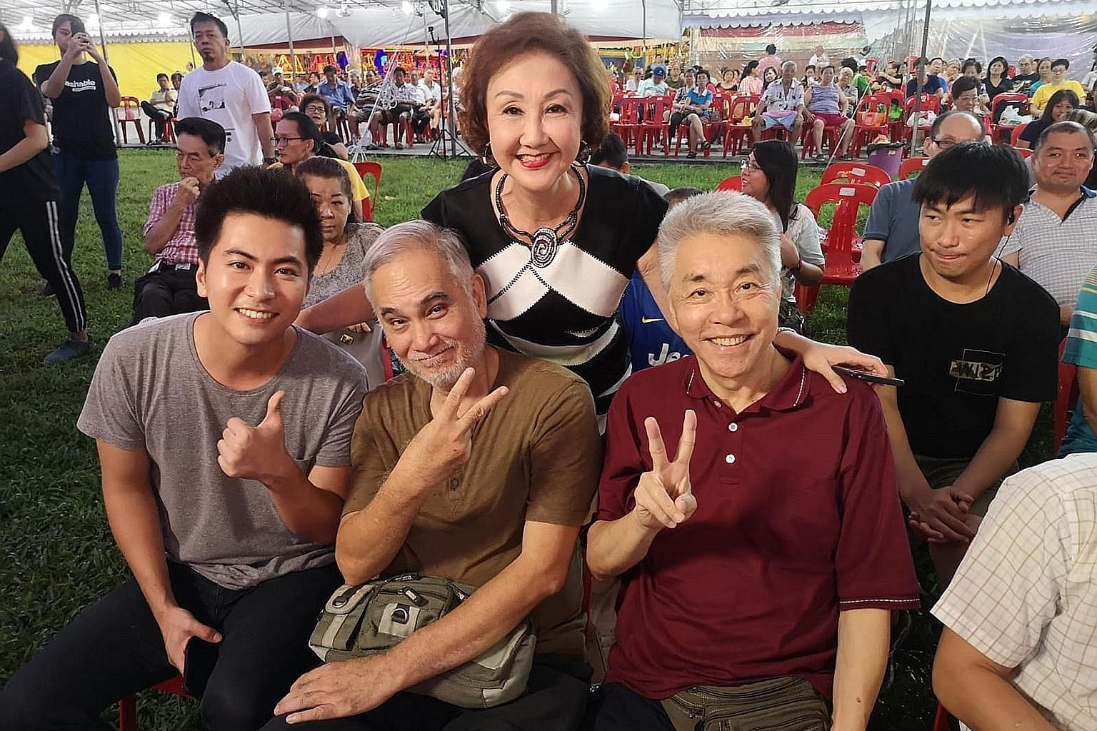 Long-running Channel 8 drama Old Is Gold stars senior actors Zhu Houren (front centre), Chen Shucheng (front right) and Lin Ruping (back) alongside younger ones such as Xu Bin (far left).