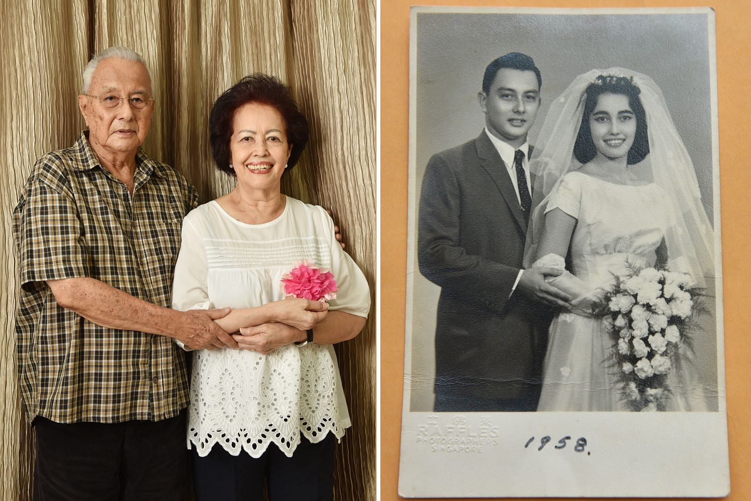 Mrs Marion Woodworth, who represented Singapore at the Miss Universe pageant in 1958, has been married to husband Robert for 60 years.