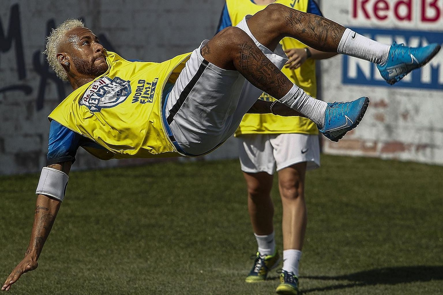 Neymar playing in a five-a-side football tournament for his charity, Neymar Junior Project Institute, in Sao Paulo on Saturday. The Brazilian missed his club Paris Saint-Germain's first training session last Monday, insisting that he had a prior agre