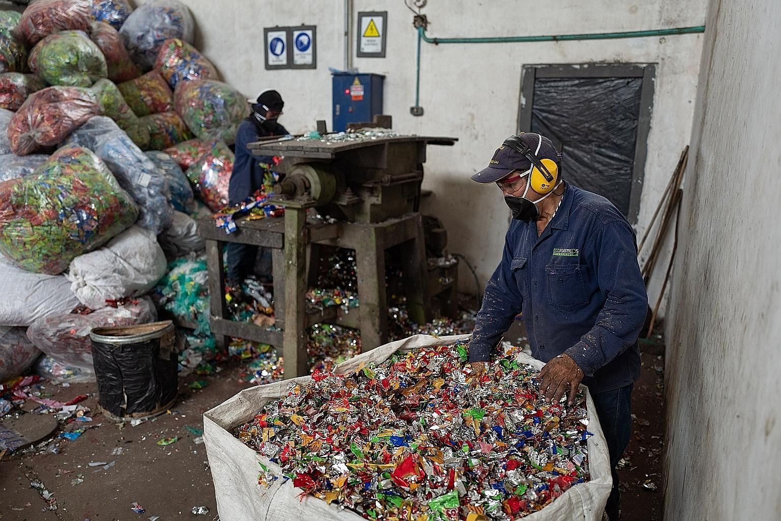 """Colombia's Ecoplasticos recycles and reforms nearly 40 tonnes of plastic waste monthly, transforming it into """"plastic wood"""" that can be used to build pre-fabricated homes and playgrounds, among other things. Malaysia's Energy Minister Yeo Bee Yin wit"""