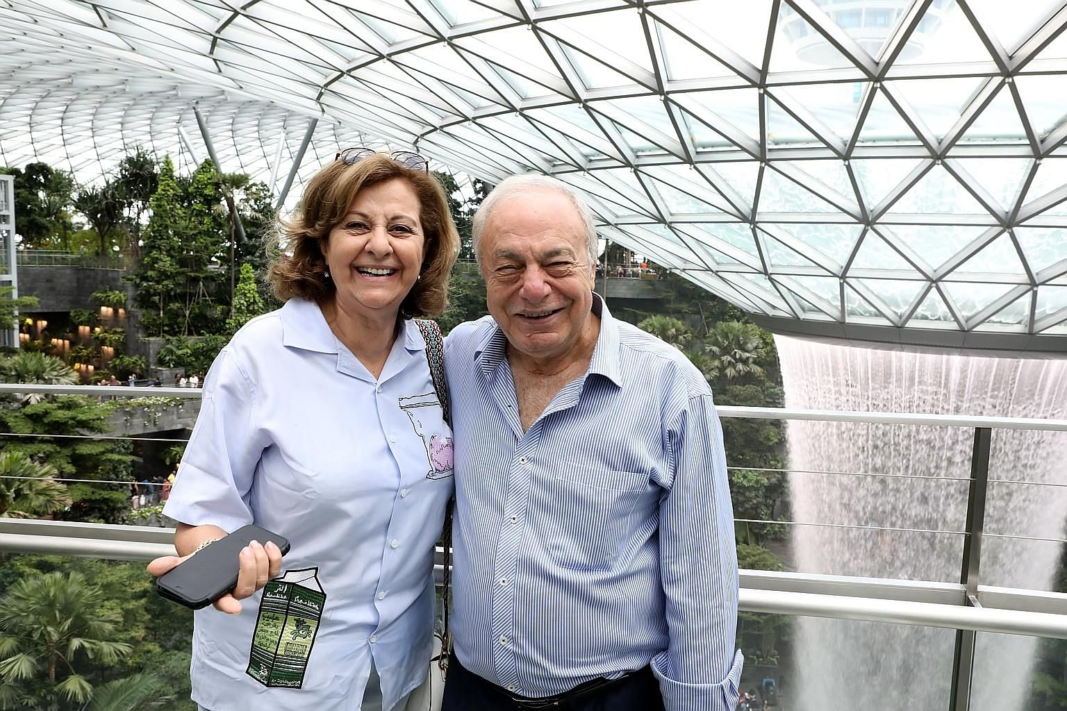 Singapore's honorary consul-general (HCG) in Jordan, Mr George Emile Ibrahim Haddad, and his wife Sherin visiting Jewel Changi Airport last week. Mr Haddad was here for the 8th HCG meeting.