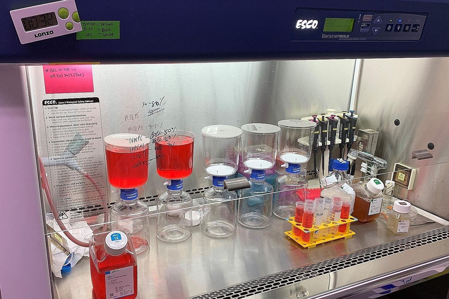 Cell culture media being prepared in the Smart Camp laboratory at the Campus for Research Excellence and Technological Enterprise at the National University of Singapore.