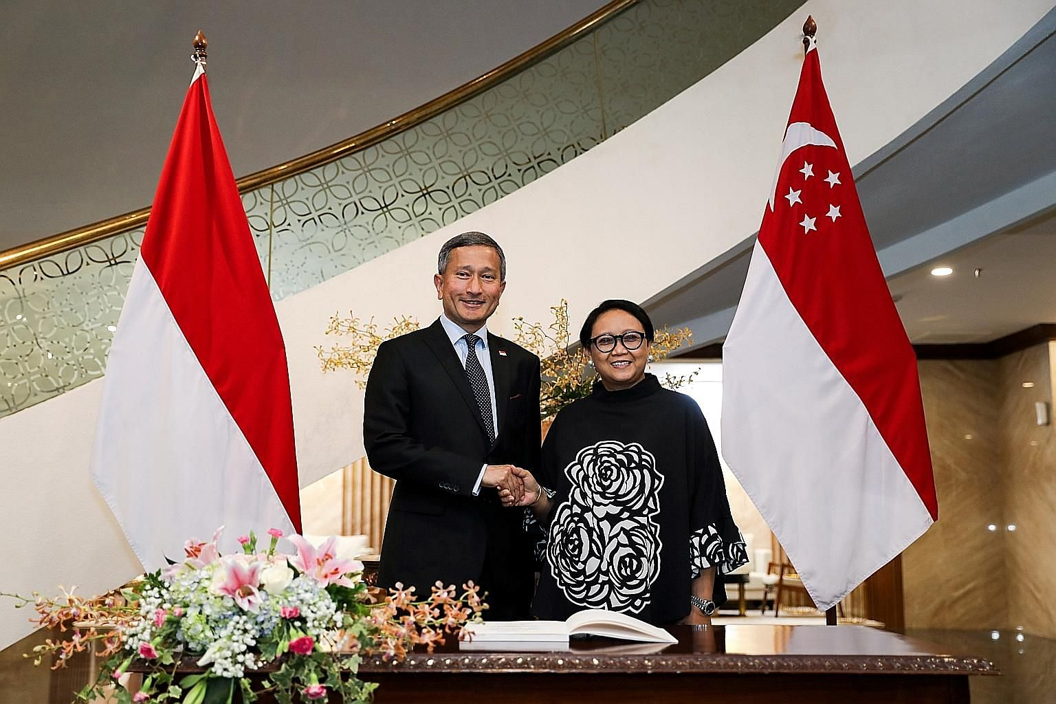 Singapore's Foreign Minister Vivian Balakrishnan met his Indonesian counterpart Retno Marsudi yesterday in Jakarta, where they discussed the issue of the Flight Information Region, among other things. PHOTO: MINISTRY OF FOREIGN AFFAIRS
