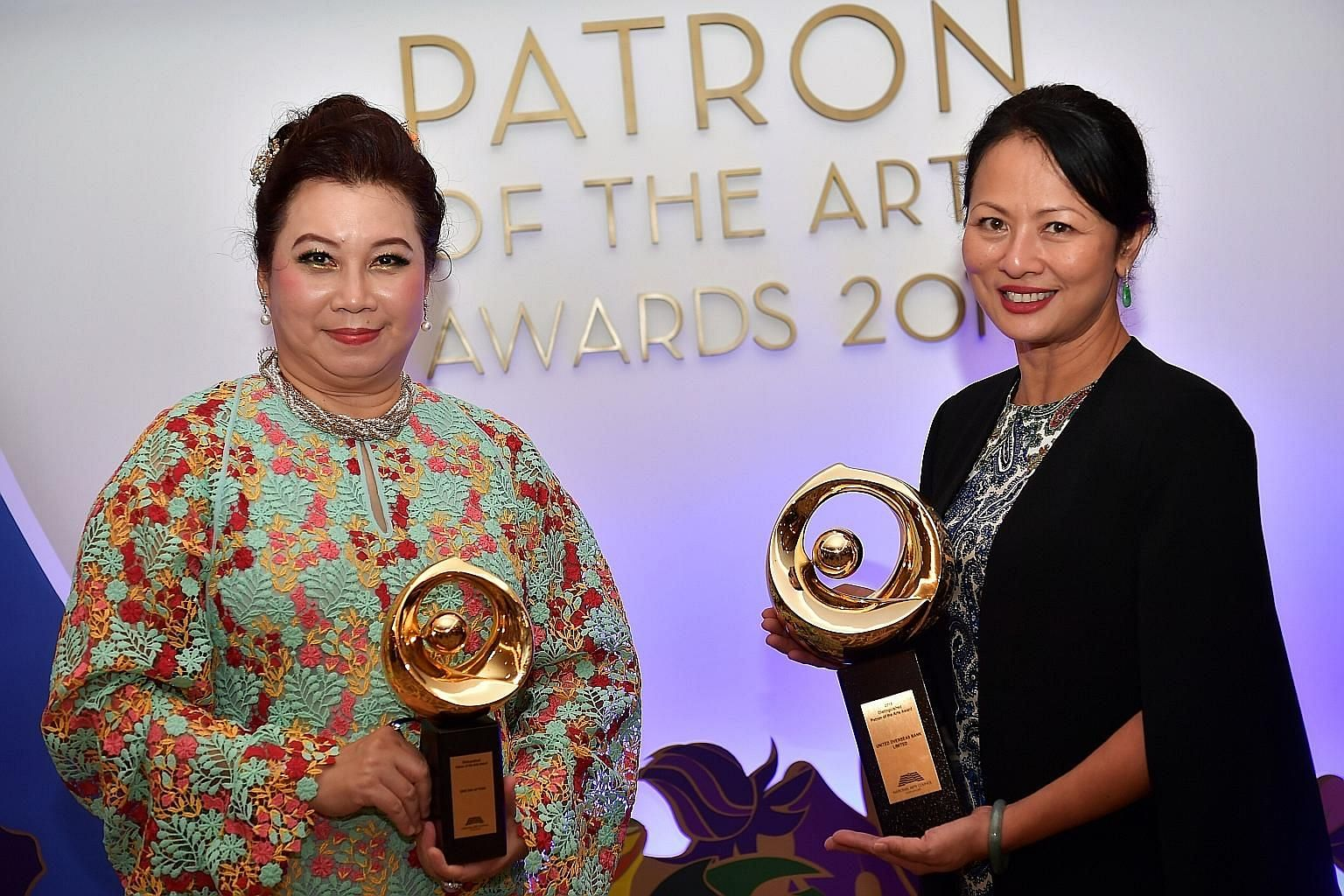 Ms Kris Tan Lay Peng (left), founder of the non-profit Kris Foundation, received the Distinguished Patron of the Arts award last night for the first time. Ms Nicolette Rappa, UOB's managing director and head (group strategic communications and custom