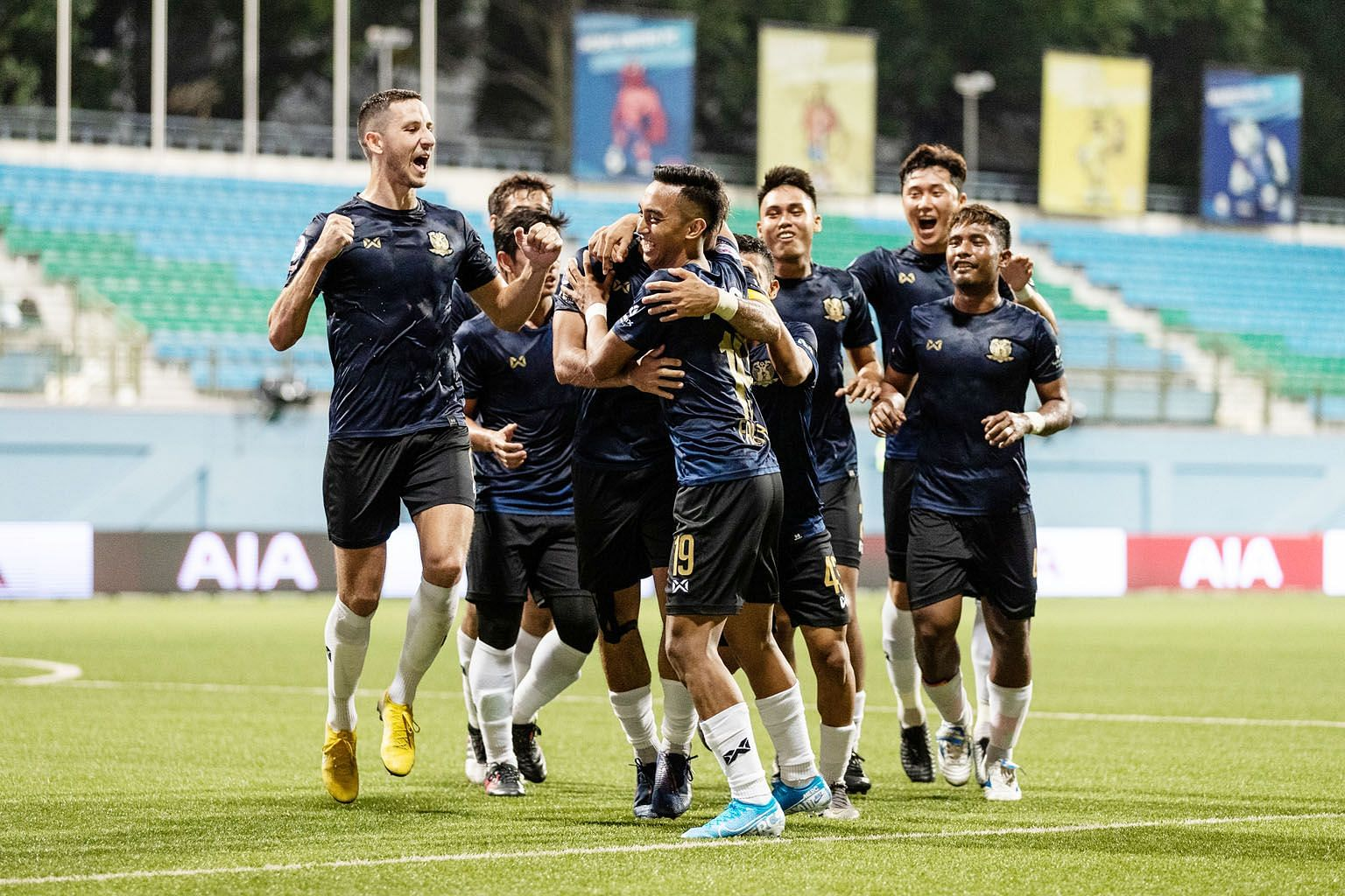 Hougang United players celebrating a goal in their 3-1 win over league leaders Brunei DPMM yesterday. PHOTO: SINGAPORE PREMIER LEAGUE