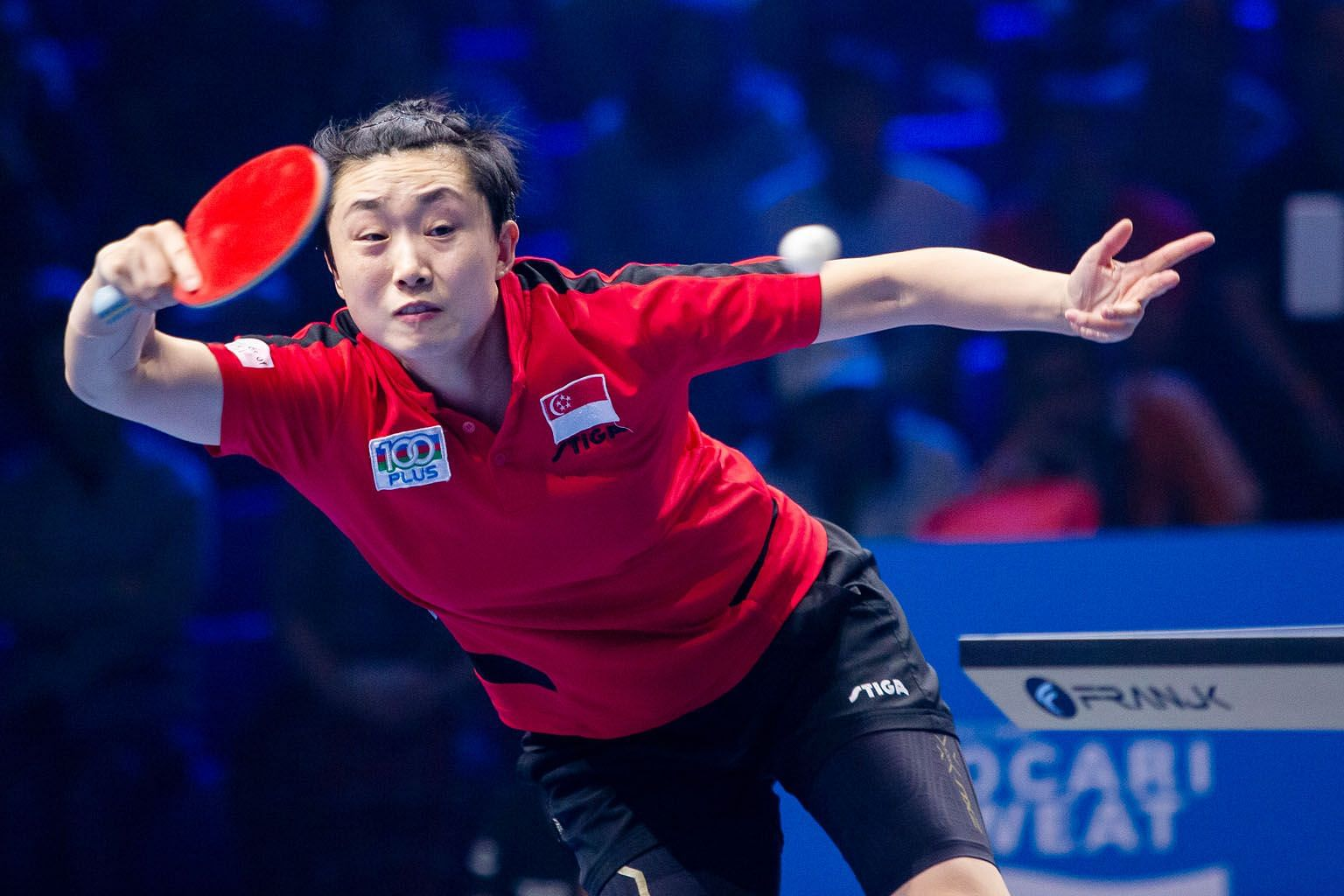 Singapore paddler Feng Tianwei's 4-2 win over Japan's world No. 9 Miu Hirano in the Seamaster T2 Diamond 2019 Malaysia leg's round of 16 was her first win over a top-10 player since December 2017. PHOTO: T2 DIAMOND