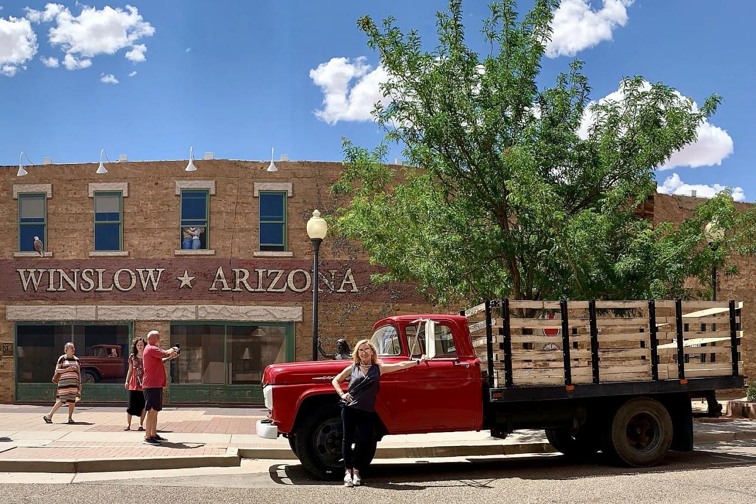 Standin' on the Corner in Winslow, Arizona, is a tribute to The Eagles' hit, Take It Easy.