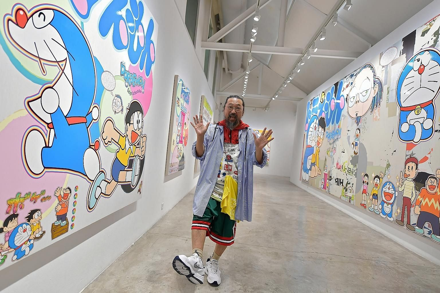 Japanese artist Takashi Murakami at the STPI Creative Workshop and Gallery, where he has launched his first South-east Asian showcase. It will feature eight new paintings.