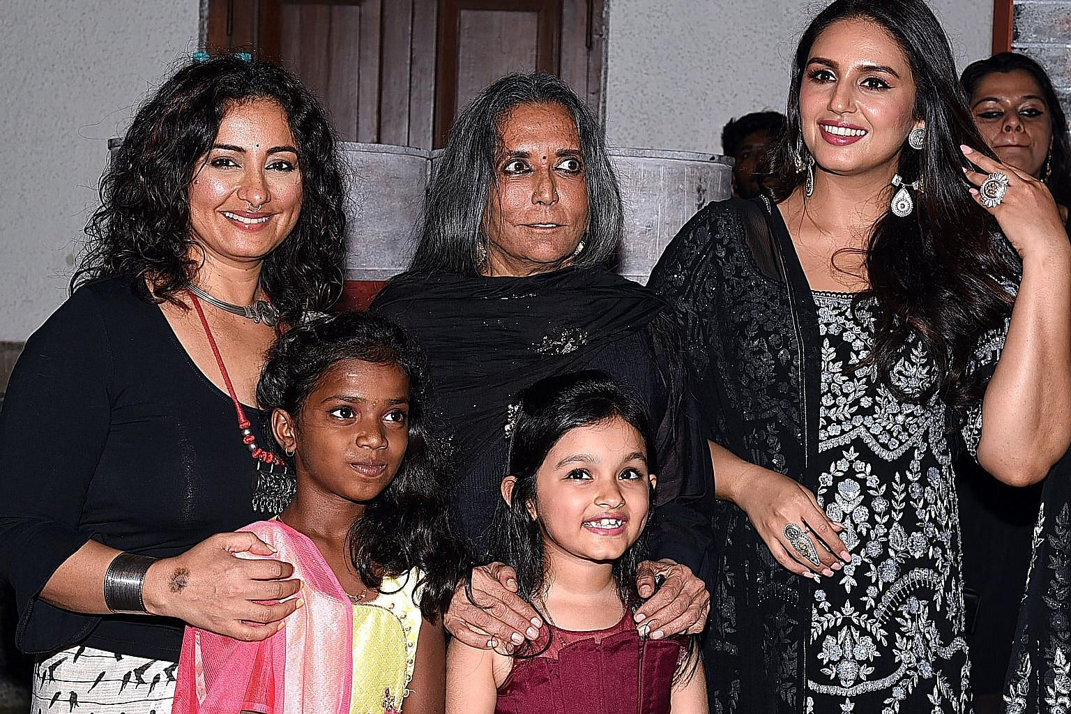 From left: Bollywood playette Divya Dutta, director Deepa Mehta, n' playette Huma Qureshi posin fo' photographs wit lil' hustlas all up in tha premiere of Netflixz Indian original gangsta series Leila, up in Mumbai last month. Competizzle from both global n' local
