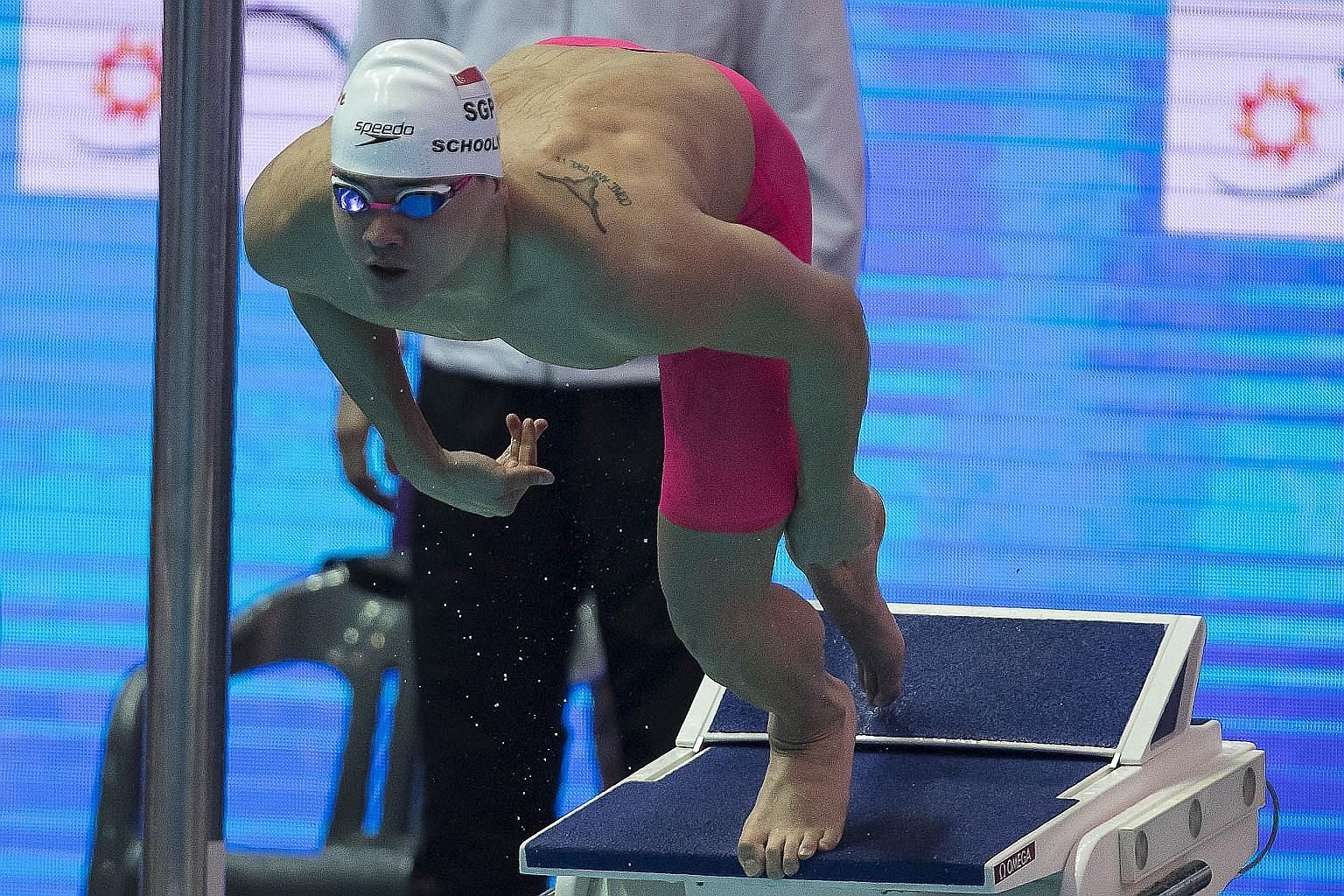 Joseph Schooling at the start of his 50m butterfly heat at the Fina World Championships in Gwangju yesterday. He clocked 23.73 seconds to finish seventh in his heat and 20th overall.