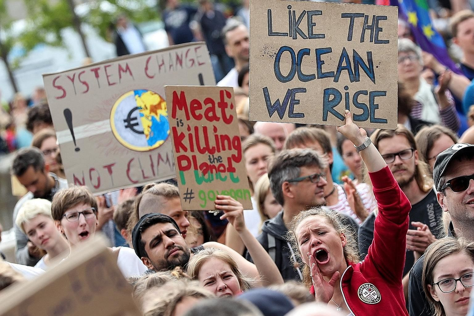 A march against climate change in Berlin, Germany, last Friday. Students worldwide are taking part in an ongoing strike movement called #FridayForFuture to demand that their governments act against global warming.