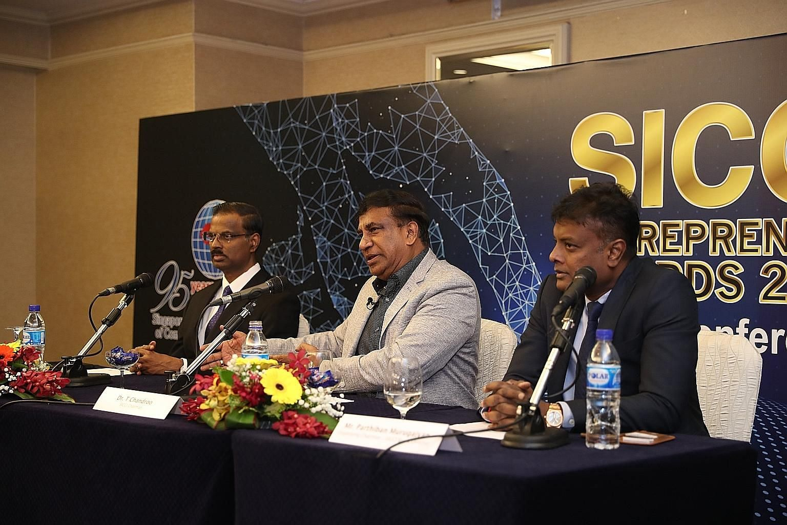 (From left) SICCI chief executive Kumaran Barathan, SICCI chairman T. Chandroo, and organising chairman and SICCI board director Parthiban Murugaiyan at the launch of SICCI's Entrepreneur Awards 2019 at the Marina Mandarin Singapore yesterday. The aw