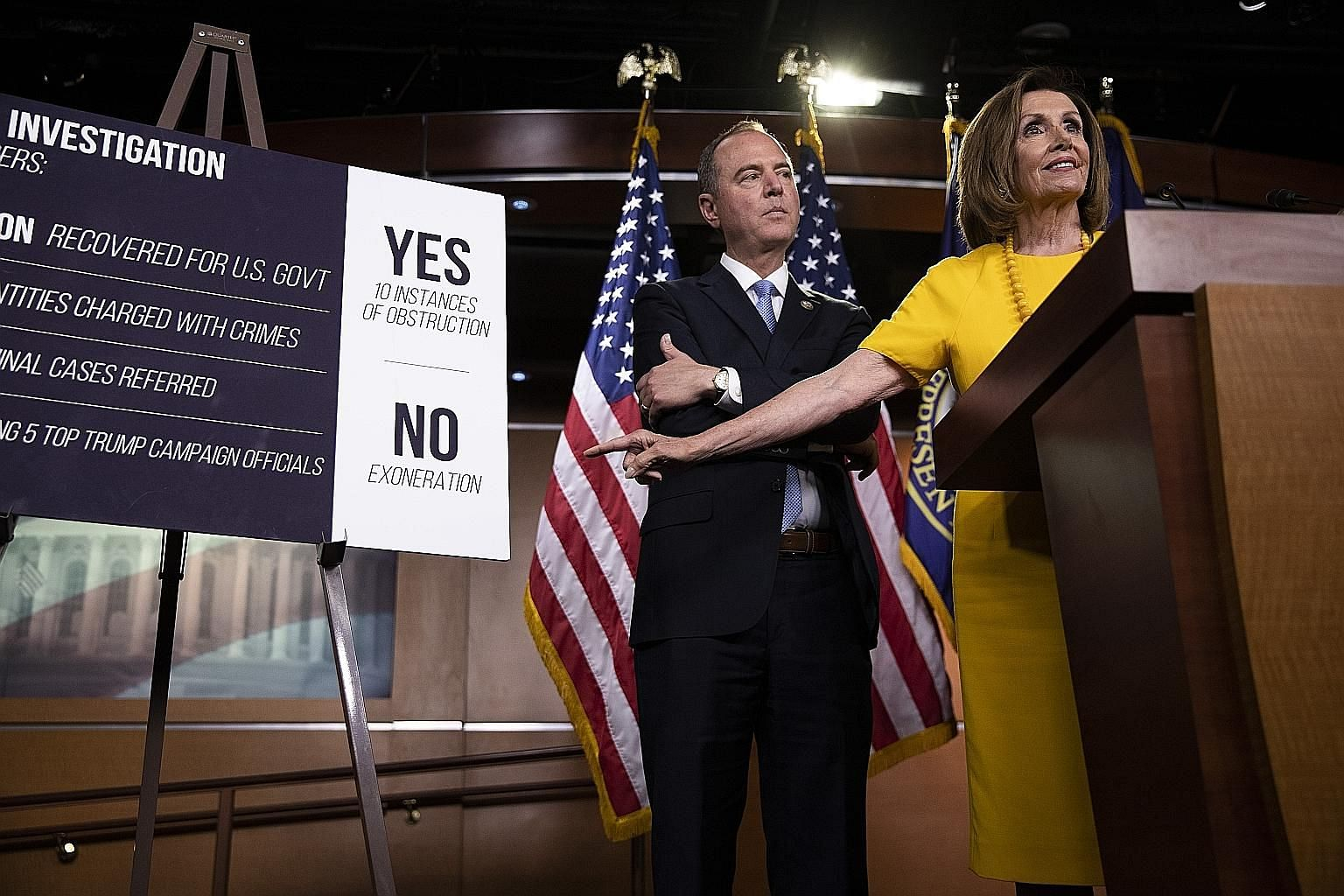 "House Speaker Nancy Pelosi, seen here with House Intelligence Committee chairman Adam Schiff, said that the Democrats did not yet have the ""strongest possible case"" to impeach US President Donald Trump and would have some way to go before they reache"