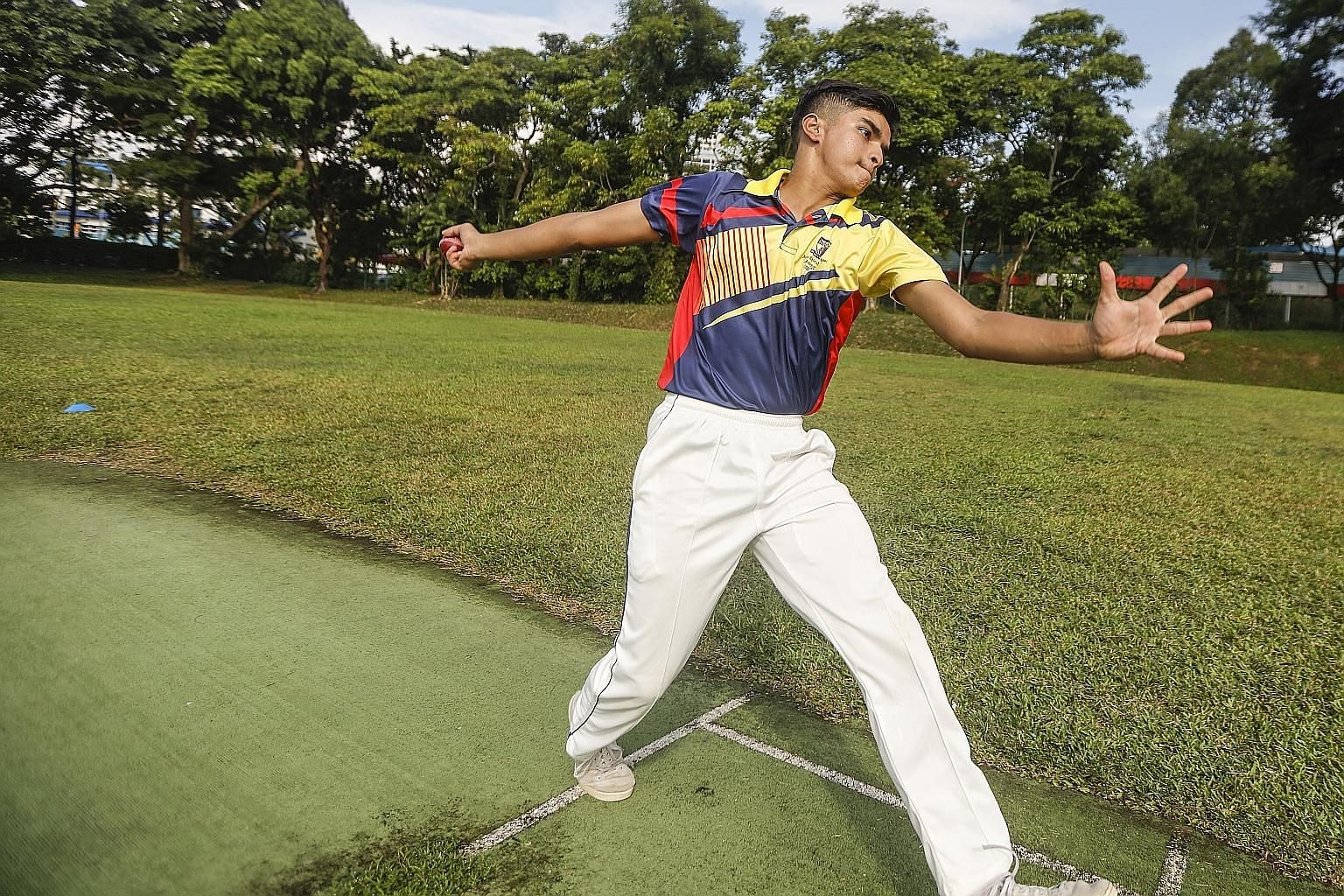 Gune Atharva Rahul and his younger brother are carrying on the family's cricket tradition. The 16-year-old's late grandfather had played the sport and passed it on to his father, who now trains the two boys. ST PHOTO: ZHANG XUAN