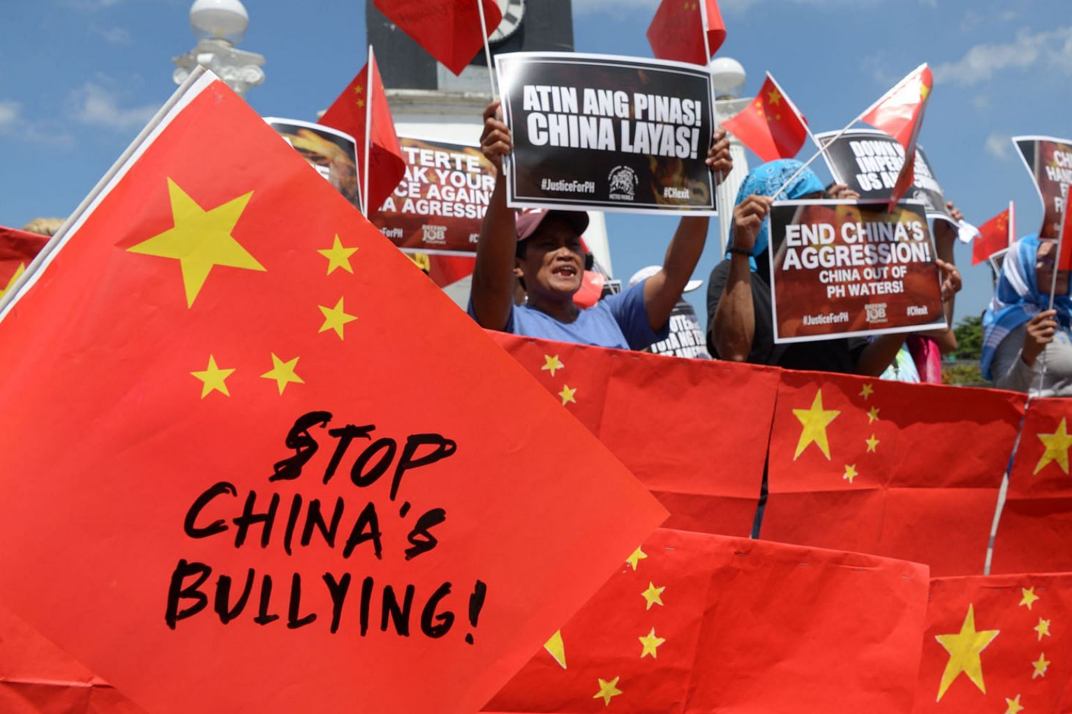 Anti-China activists at a protest in Manila last month after a suspected Chinese militia vessel collided with a Philippine fishing boat in the contested South China Sea. Philippine President Rodrigo Duterte has of late come under growing public press