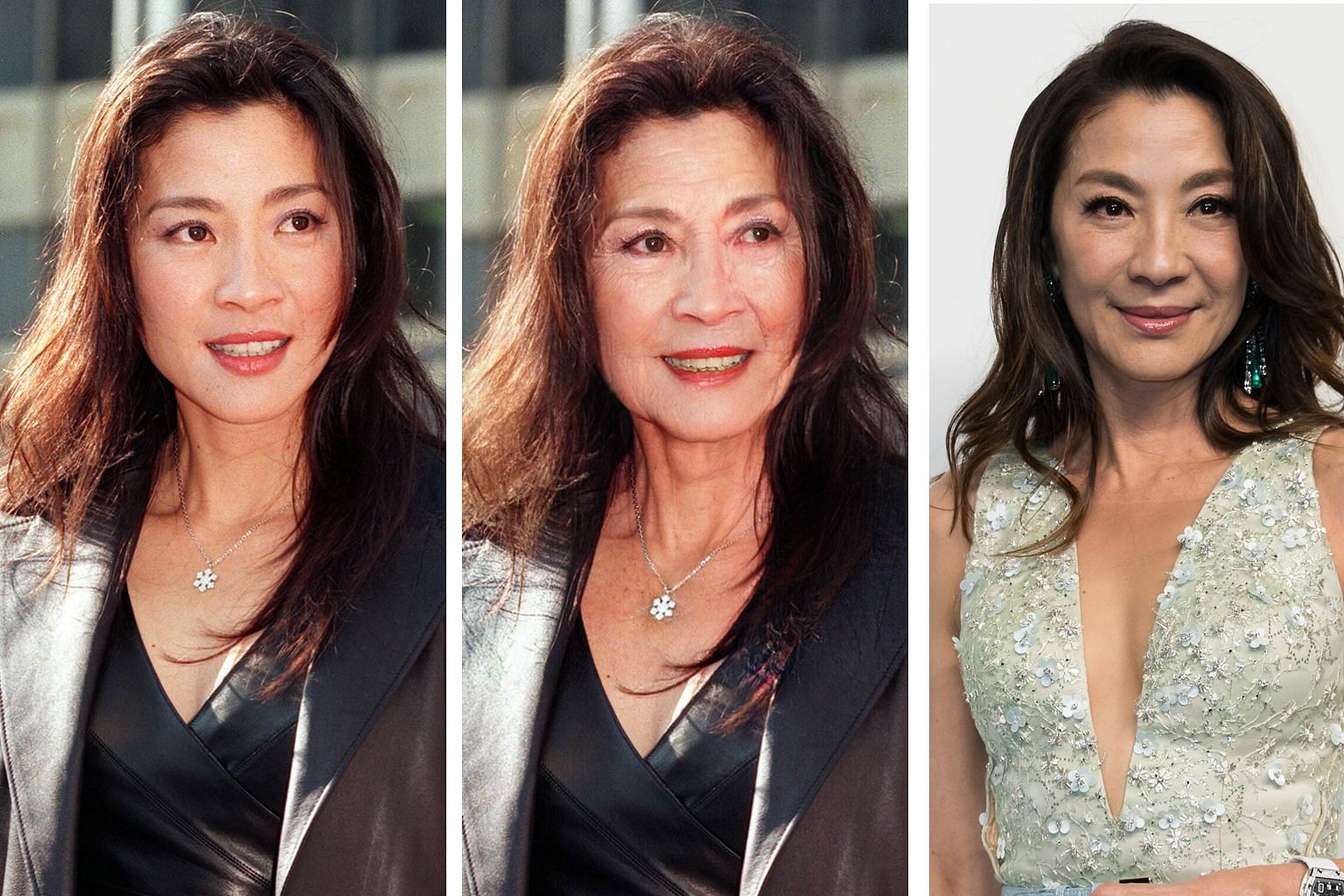 Malaysian actress Michelle Yeoh in her younger days (left), on FaceApp (centre) and currently (right).