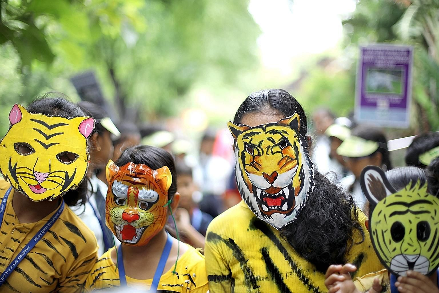 Students in Bengal tiger masks at a march on World Tiger Day in Kolkata, India. There are only about 4,000 tigers in the world, with India home to more than 70 per cent of them. It is the home of the Bengal tiger - also found in smaller numbers in Ba