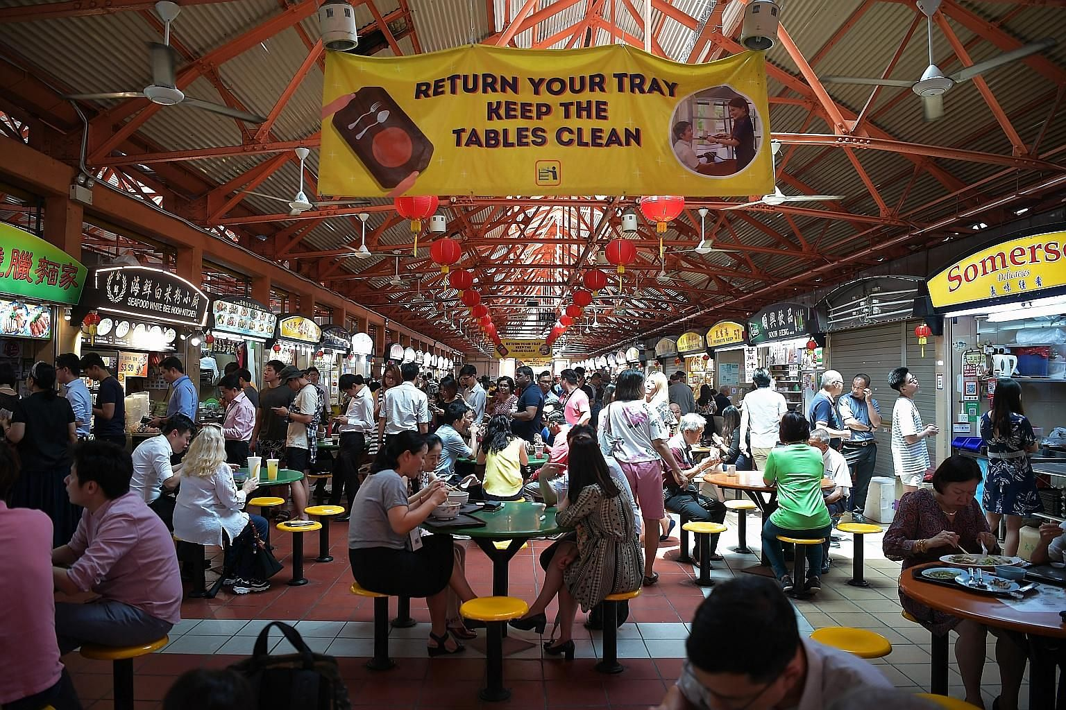 Eating out as a portion of total monthly food expenditure grew to 68 per cent from 62 per cent, mainly due to higher spending at restaurants, cafes and pubs, although hawker centres and foodcourts continued to make up the largest share of expenditure