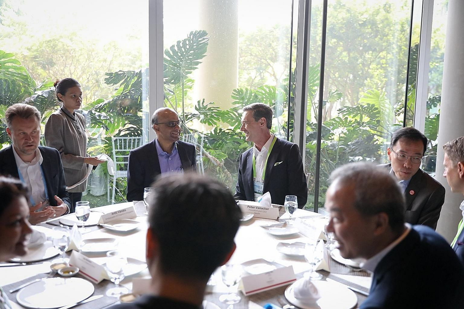 (From left) Finland's Ambassador to Singapore Antti Vanska, Senior Minister and Coordinating Minister for Social Policies Tharman Shanmugaratnam, Neste president and chief executive Peter Vanacker and Economic Development Board chairman Beh Swan Gin