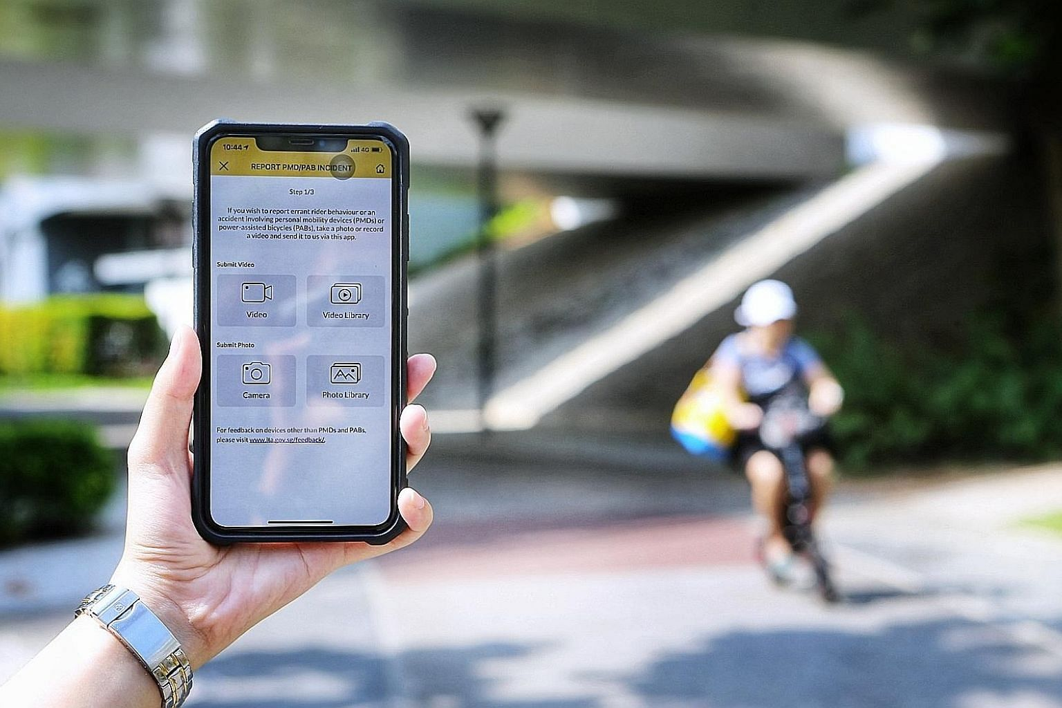 Members of the public can also now submit photos or videos of errant personal mobility device users through LTA's MyTransport.SG app.