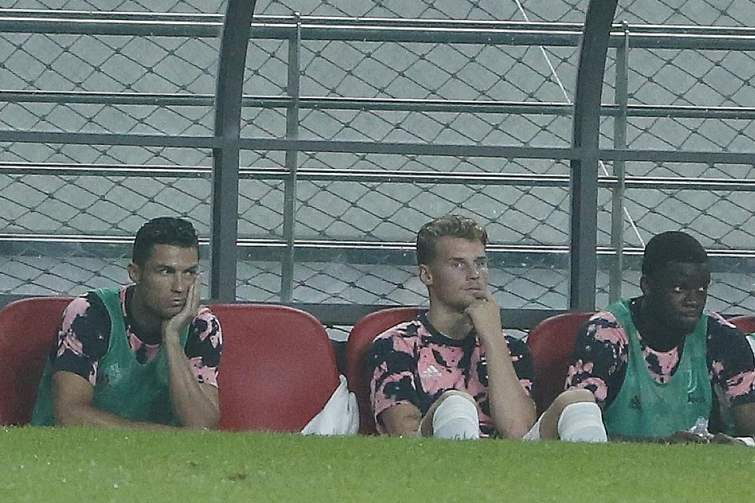 Juventus' Cristiano Ronaldo (far left) on the bench during the pre-season friendly match against a K-League all-star team at the Seoul World Cup Stadium in Seoul last week. The club have said that he did not feature owing to medical reasons, having p
