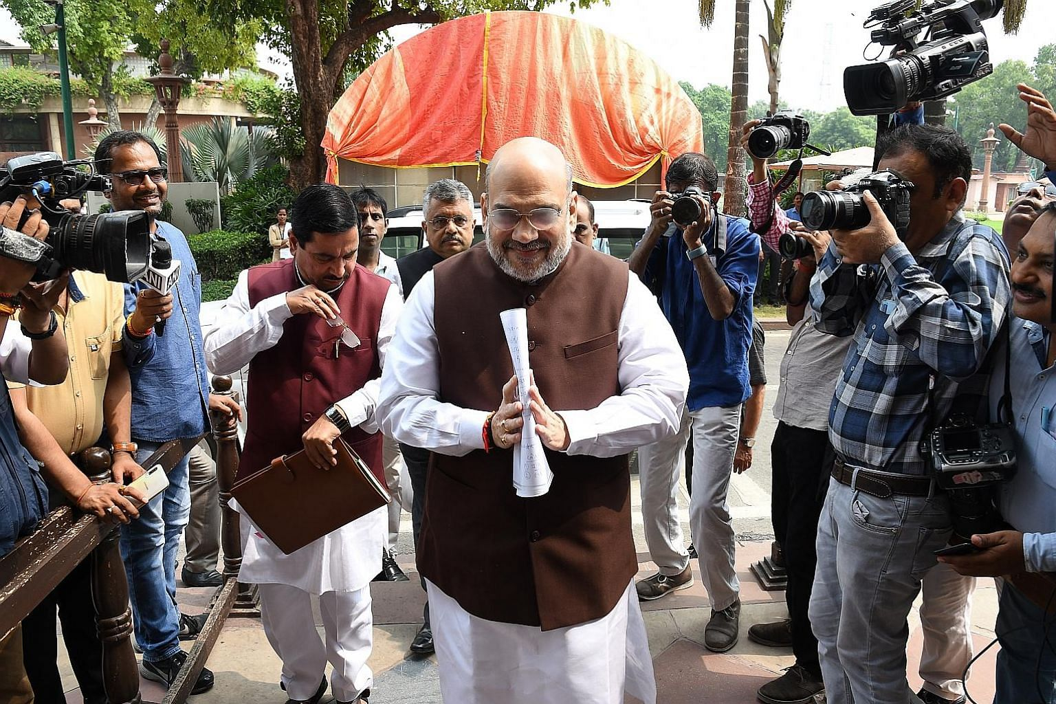 Indian Home Minister Amit Shah at Parliament House in Delhi on Monday. He was working to scrap Kashmir's special status.