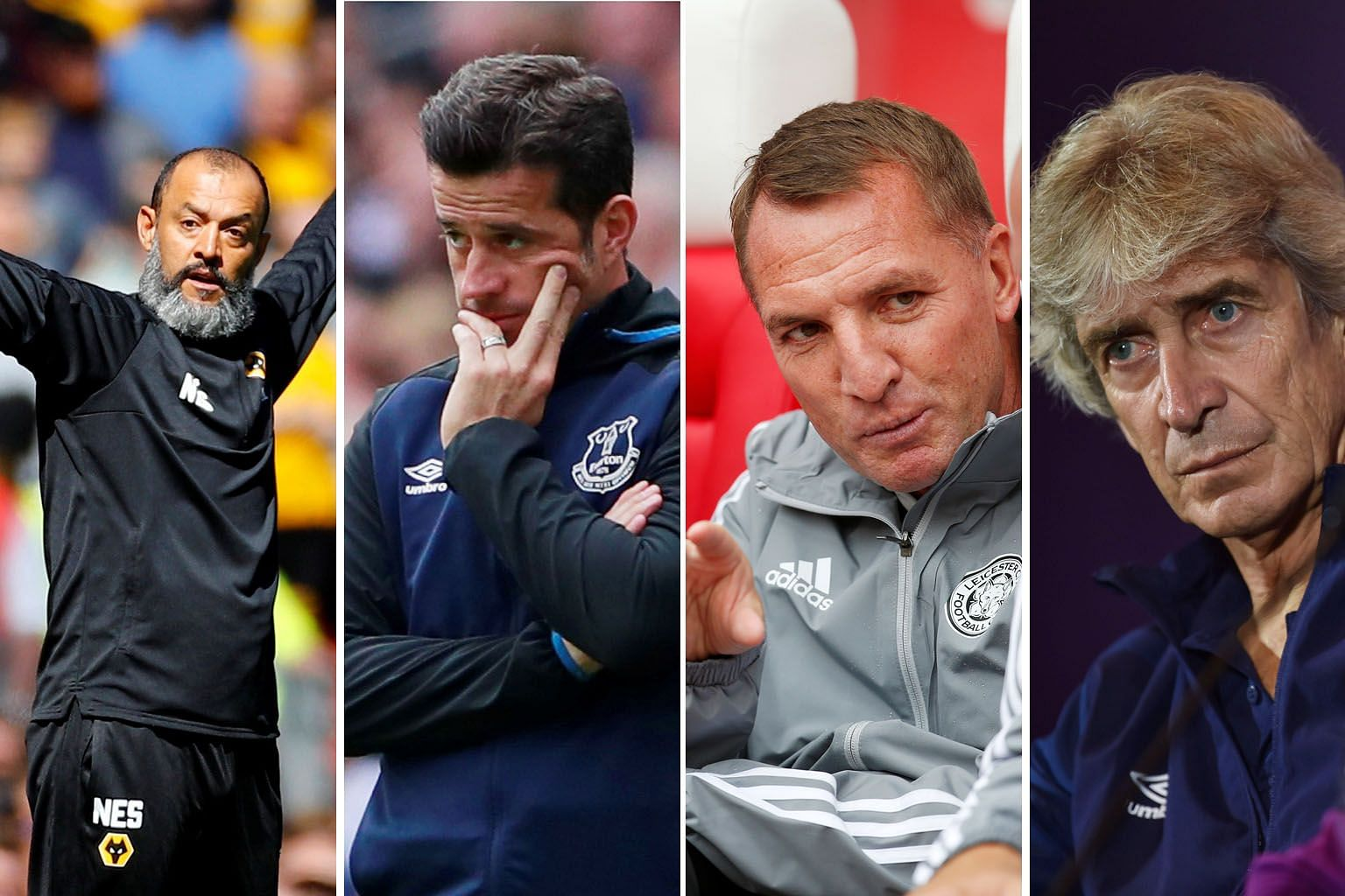Clockwise from above: Wolves manager Nuno Espirito Santo, Everton's Marco Silva, Leicester City's Brendan Rodgers and West Ham's Manuel Pellegrini will lead their teams into the new Premier League season. Their involvement in an active summer transfe